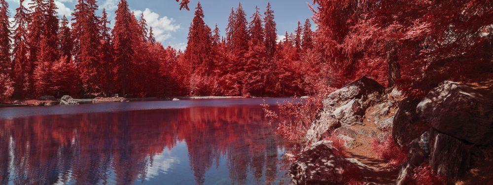 Randonnée savoyarde en photographie infrarouge, aerochrome numérique, par Pierre-Louis Ferrer.
