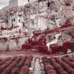 Vue de la forteresse des Baux de Provence. Photographie infrarouge en aerochrome réalisée par Pierre-Louis Ferrer.