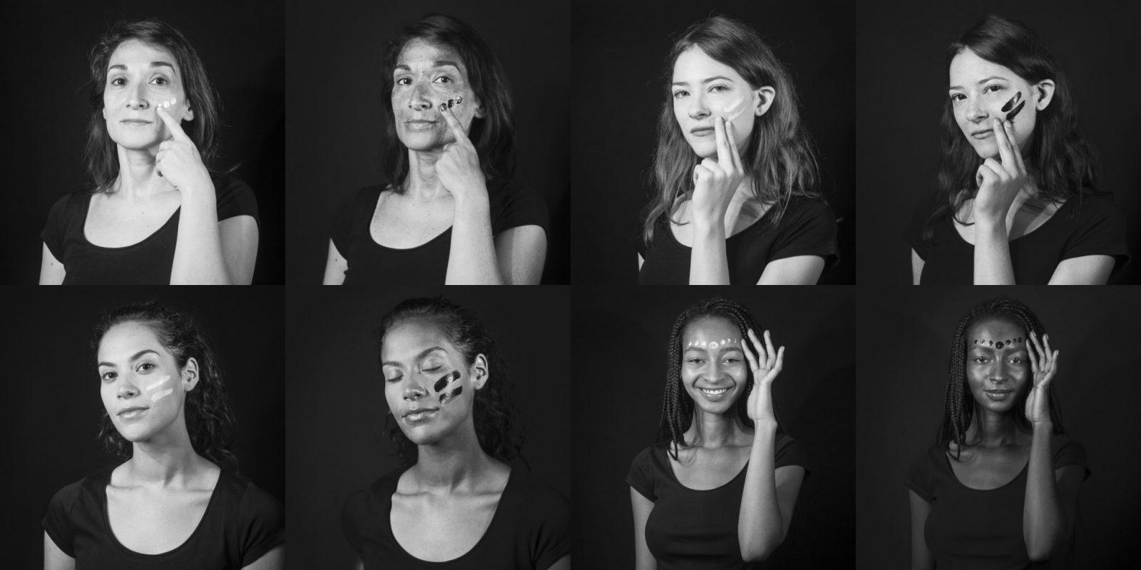 Photographe en cosmétique, patchwork de portraits extraits d'une vidéo en ultraviolet pour promouvoir une marque de protection solaire.