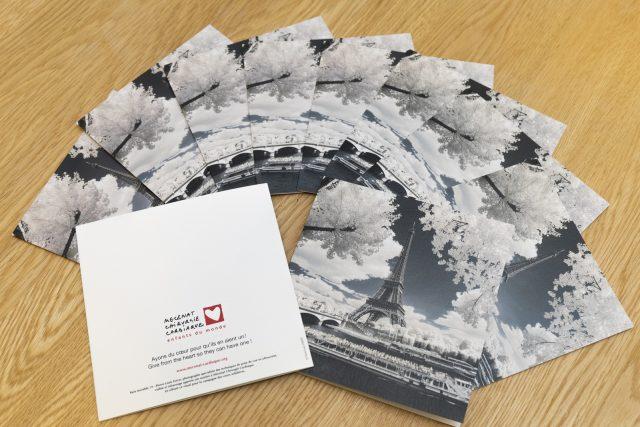 Illustration des cartes de voeux éditées par Mécénat Chirurgie Cardiaque et illustrées par une vue de Paris en infrarouge réalisée par Pierre-Louis Ferrer, photographe spécialisé en photographie dans l'infrarouge et l'ultraviolet.
