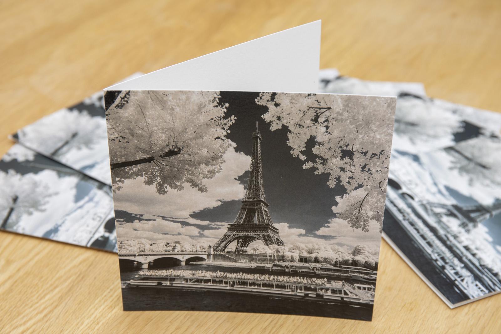 Illustration des cartes de contact éditées par Mécénat Chirurgie Cardiaque et illustrées par une vue de Paris en infrarouge réalisée par Pierre-Louis Ferrer, photographe spécialisé en photographie dans l'infrarouge et l'ultraviolet.