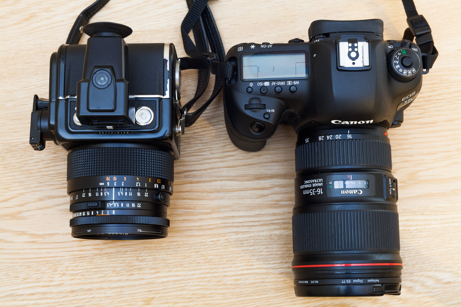 Comparatif des dimensions entre un Hasselblad SWC/M et un Canon 5D mark IV.