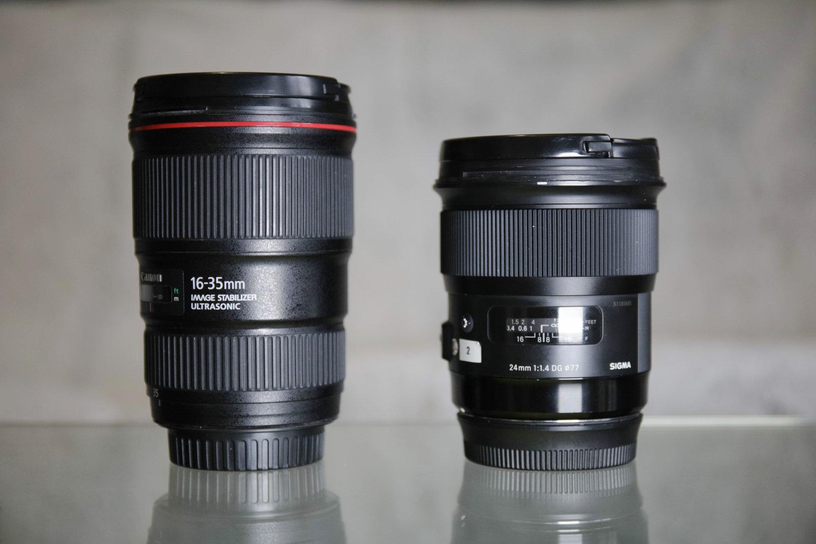 Comparatif taille objectifs CANON SIGMA | Pierre-Louis Ferrer | Test du SIGMA 24mm F/1.4 DG HSM Art en photographie infrarouge | Partie 1